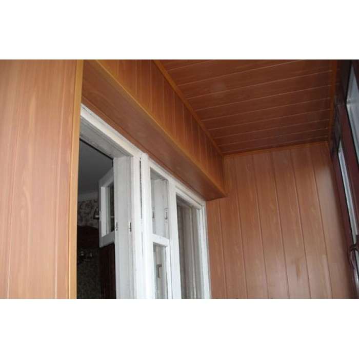 Отделка балкона мдф панелями..