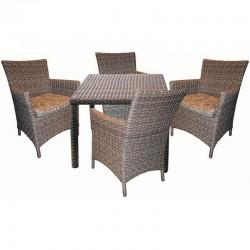 """Стол и 4 кресла из ротанга """"Ницца"""" кофейного цвета"""