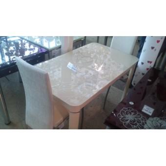 Стол кухонный стеклянный AD29 Бежевый