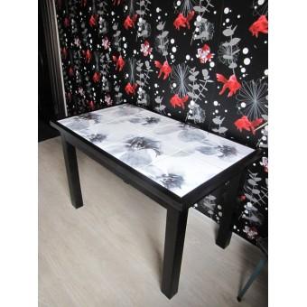 Стол кухонный из дерева массива и керамической плитки Title #2