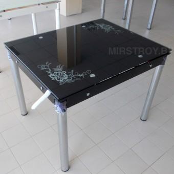 Стол кухонный стеклянный 6069A раскладной с цветами