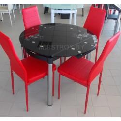 Стол кухонный стеклянный 6069-2 Черный с цветами