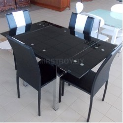 Стол кухонный стеклянный DT 586-1 Черный
