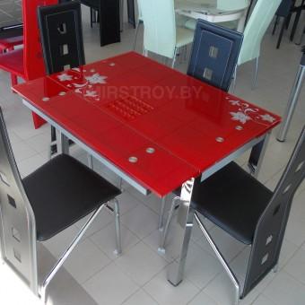 Стол кухонный стеклянный D02-2 красный