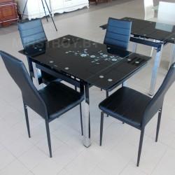 Стол кухонный стеклянный DT 586-1 Черный с цветами