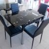 Стол кухонный стеклянный DT 586-2 Черный с цветами