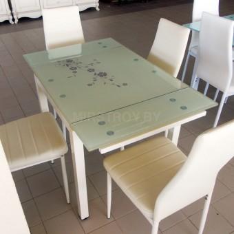 Стол кухонный стеклянный DT 586-1B Бежевый с цветами