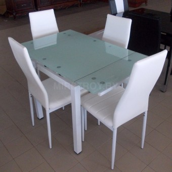 Стол кухонный стеклянный DT 586-1B Белый
